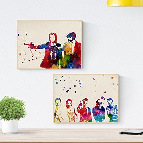 Nacnic Set de Dos láminas Trainspotting y Pulp Fiction. Pack de Dos Posters Amantes del Cine. Láminas Creativas de peliculas para enmarcar. Impreso en Papel de 250 Gramos