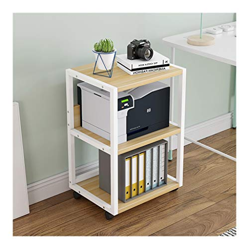 Printer Stand Creative Printer Shelf 3 Layers Copier Storage Rack Home Office Storage Rack with 4 Easy to Move Casters Under Desk Printer Stand (Color : White-d)