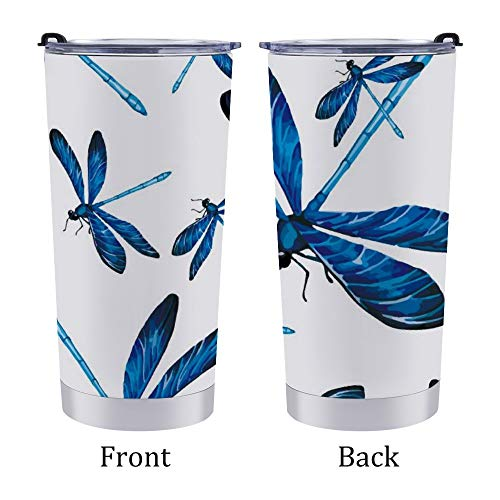Stainless Steel Tumbler Travel Mug,Car Coffee Cup with Lid,Dragonfly with Beautiful Royal Blue Pattern,for Home Office Outdoor,for Men/Women 20oz 6.9×3.4Inches