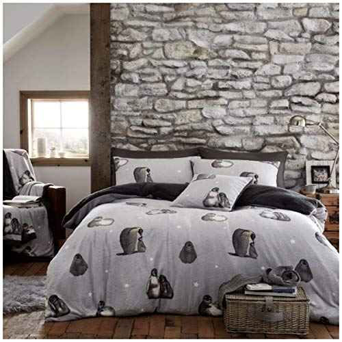 Gaveno Cavailia Premium Quality Soft & Cosy Teddy Penguin Quilt Cover and Matching Pillow Cases, Easy Care Fluffy Bed Linen, Fleece Duvet Set, Grey, Double Size Bedding