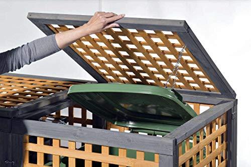 Holz Mülltonnenbox Kaprun für 1 x 240 Liter Mülltonne - 2