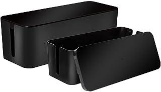 Baskiss Lot de 2 boîtes de rangement pour câbles avec pieds en caoutchouc pour ranger les prises de courant, câbles, organ...