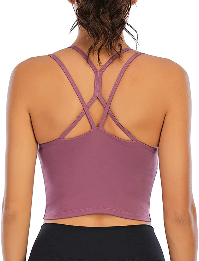 Padded Strappy Sports Bras for Women Strappy Back Yoga Longline Workout Camisole Crop Tops