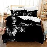 DEZEE Juego De Cama Pistolas Francotirador El Juego Balas Soldado Fundas Nórdicas Y Fundas De Almohada O Sábana(Elija 4 PCS) para Cama 90/135/150/180 (01,200×200cm-4PCS-Cama 135/140)