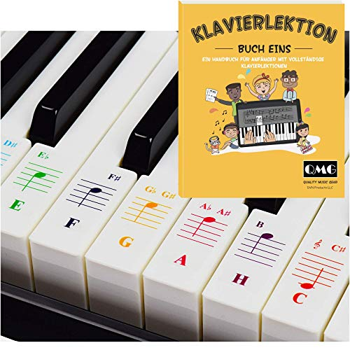Farbige Klavier- und Keyboard-Aufkleber und vollständige Klavierlektionen mit farbigen Noten und Leitfaden für Kinder und Anfänger