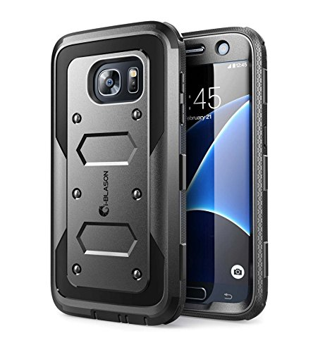 i-Blason Samsung Galaxy S7 Hülle Armorbox Case Outdoor Handyhülle Stoßfest Schutzhülle Cover mit integriertem Displayschutz und Gürtelclip, Schwarz - 5.1 Zoll