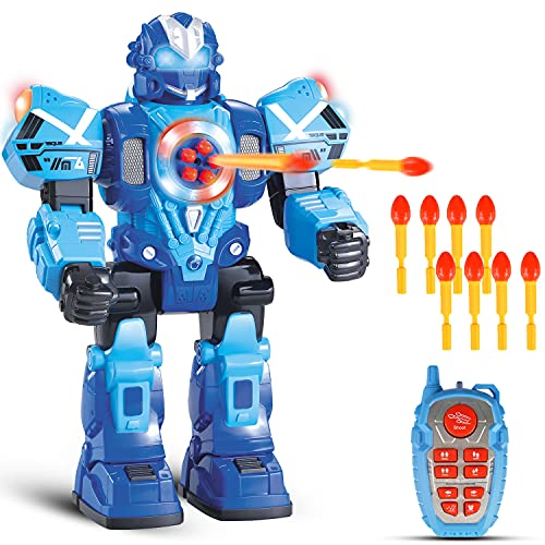Large Remote Control Robot for Kids - 10 Channel RC Toys Shoots Missiles, Walks, Talks & Dances with Flashing Lights Sounds