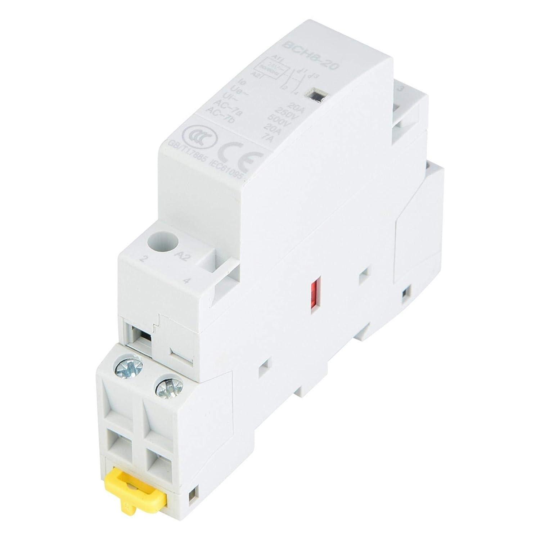 Contactor de CA, 20A 24V 220V/230V Contactor de CA doméstico Montaje en riel DIN 50/60Hz (24V)(220V/230V)
