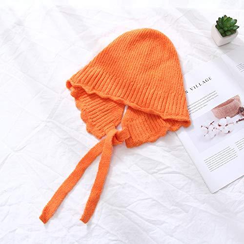 TJZY Beanie Depunto Sombrero Mujeres Otoño Invierno Sólido Espesar Gorra Clásico Gorro de Lana Sombreros/naranja/Ajustable