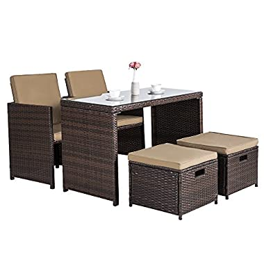 Cloud Mountain Outdoor 5 Piece Rattan Wicker Bar Set Garden Dining Table Set Cushioned Patio Furniture Set Space Saving 1 Patio Dining Table 4 Conversation Bistro Chair Set, Mix Brown