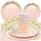 JJQHYC 40 Piezas Platos Desechables Cumpleaños Vajilla de Desechables Fiesta para Despedida de Soltera Compromiso Graduación Baby Shower Aniversario 10 Invitados