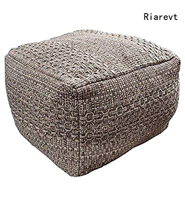 """Riarevt Unstuffed Pouf, Ottoman Footstool Foot Rest, Square Pouf Ottoman Boho, Soft Knitted Cotton Linen Pouf, Poufs for Living Room Bedroom (Brown, 16.5""""x16.5""""x12.9"""")"""