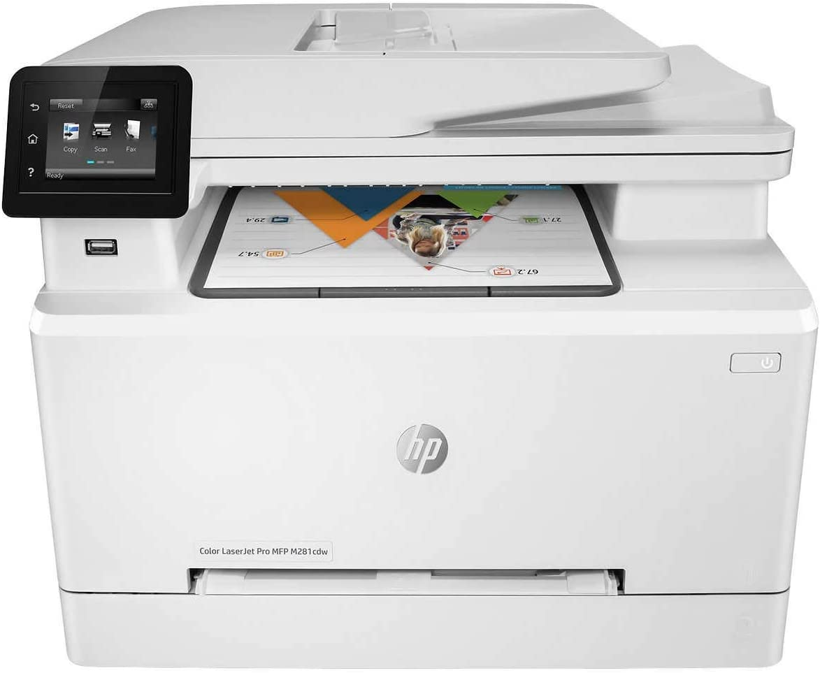 HP Laserjet Pro M281cdw All in One Wireless Color Printer, Scan, Copy and Fax with Ease with Bonus of 30 Sheets of HP Brochure Paper (T6B83A) - Premier Edition (Renewed)