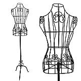 PrimoLiving Mannequin de couture en métal réglable en hauteur P-12901 Noir
