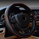 FREESOO Steering Wheel Cover Leather Universal 38cm/15 inch Car Anti-slip Wheel Sleeve Protector