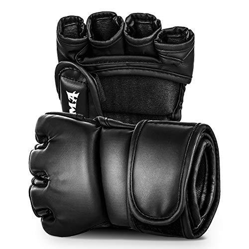 MMA Handschuhe UFC Half Finger Boxhandschuhe mit Offenen Palmen Sparringhandschuhe Kickboxhandschuhe für Boxsack Sand Muay Thai Cage Fighting Martial Arts für Männer und Frauen 1 Paar (M)