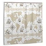 Nautical Shower Curtain for Bathroom Nautical Sailboat World Map Shower Curtain Modern Compass Sketch Ship Boat Anchor Panel Beige and White Waterproof Bath Curtain Ocean Shower Curtain
