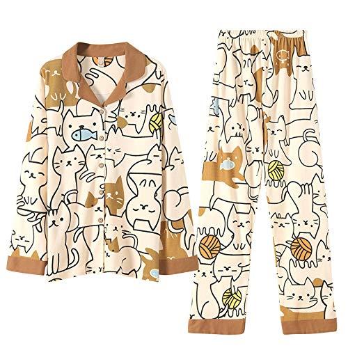DFDLNL Pijamas de algodón Puro para Mujer, Conjuntos de Pijamas de Gato y pez, Ropa de Dormir, Top de Manga Larga + Pantalones Largos, Pijamas para el hogar, Ropa Femenina XXXL