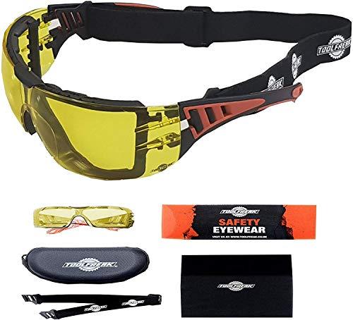 ToolFreak Rip-Out, Arbeits- und Sportschutzbrille mit gelben Gläsern, Schaumstoffpolsterung, verbessert die Sicht, den UV- und Aufprallschutz, En166 FT, Gehäuse und Stoff
