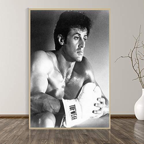 ganlanshu Rahmenlose Malerei Boxen Gewichtheben drucken inspirierende Poster Schwarz-Weiß-Wandkunst Leinwand Malerei RaumdekorationZGQ2763 40X50cm