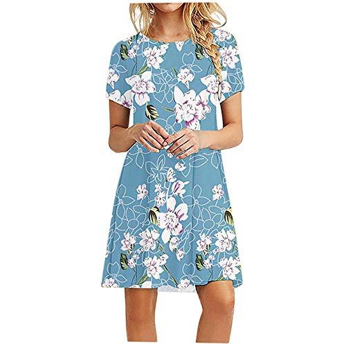 Fcostume Sommerkleid Damen Knielang Kleid Sommer Kleider T-Shirt Tunika Kurzarm Freizeitkleid Blumen Elegant Swing