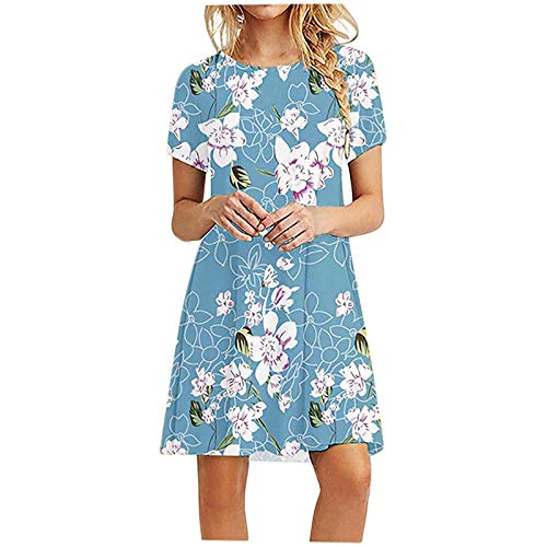 FNKDOR Summer Fashion Womens V Neck Holiday Birthday Family Party Formal Suit Floral Print Dress Ladies Summer Beach Party Dress Shirtdress Pleated Skirt