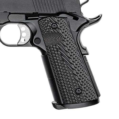 Cool Hand 1911 G10 Grips, Full Size (Government/Commander), Free Screws Included, Magwell Cut, Mag Release, Ambi Safety Cut, New Generation OPS Texture, Gun Matal, H1M-JVM-5