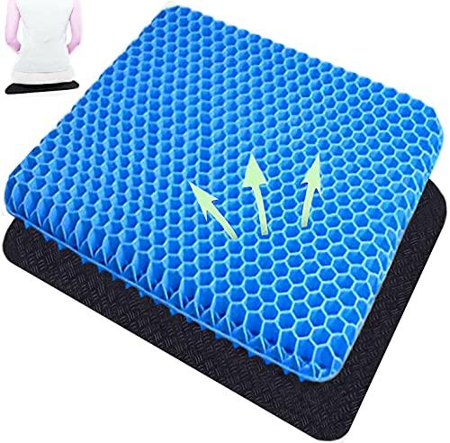 Cojín de gel, diseño de panal, con funda de tela, puede aliviar la presión en las nalgas, utilizado en sillas de oficina, sillas de coche o sillas de ruedas (azul)
