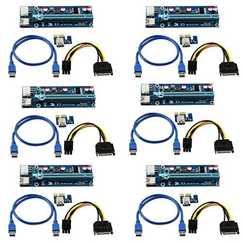 LONGXI (6Unidades) de Corriente de 6Pines PCI-E PCI Express Riser–Ver 006C–1x A...