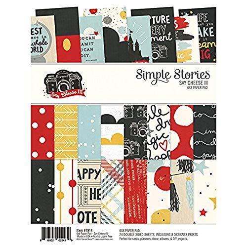 Simple Stories Decir Queso 3Bloc de Papel, 6x 20,3cm