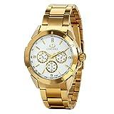 Avaner Reloj Dorado de Esfera Oro de Color, Reloj de Caballero Cuarzo, 3 Subdiales de Decoración, Grande Reloj de Hombre Acero Inoxidable Hip Hop Style, Regalo Navidad (Dorado)