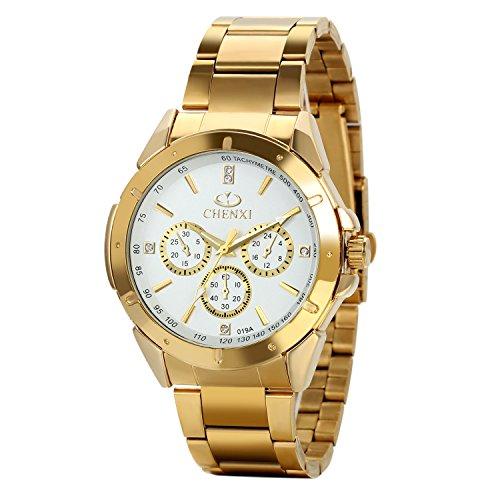 Avaner Reloj Dorado de Esfera Oro de Color, Reloj de Caballero Cuarzo, 3 Subdiales de Decoración, Grande Reloj de Hombre Acero Inoxidable Hip Hop Style, Regalos dia del padre originale (Dorado blanco)