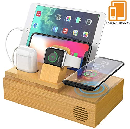 Wireless Bamboo Wood Charger With Cables & Cord, Charging Station for Multiple Devices, Dock - Docking station for Apple Watch, AirPods. Wireless Charge Pad Organiser for iPhone, Android, Qi Phones
