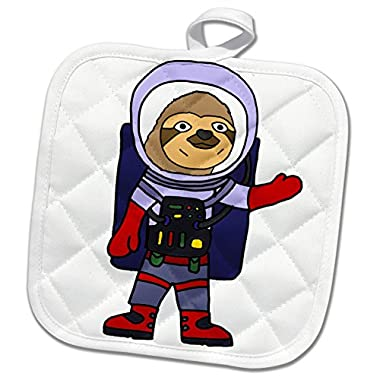 3dRose All Smiles Art Animals - Funny Cute Sloth Astronaut in Space Suit Cartoon - 8x8 Potholder (phl_273484_1)