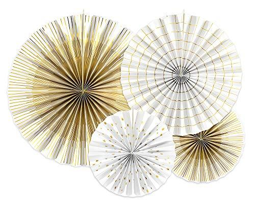 Dekorative Rosetten, 4 Stück, Weiß/Gold, 23-40 cm, Papierrosetten RPK16-008