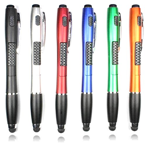 Stylus Pen [6 Pcs], 3-in-1 Multi-Function Touch Screen Pen (Stylus + Ballpoint Pen + LED Flashlight) for Smartphones Tablets iPad iPhone Samsung etc