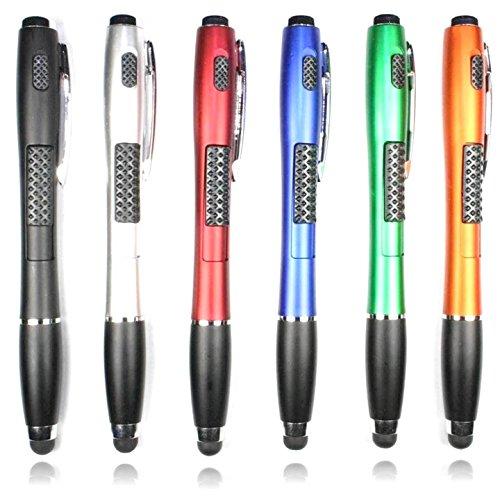 Stylus Pen [6 Pcs], 3-in-1 Multi-Function Touch Screen Pen (Stylus + Ballpoint Pen + LED Flashlight) for Smartphones Tablets iPad iPhone Samsung etc