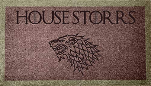 Artisan Kiss Felpudo lavable de 70 cm x 40 cm, diseño de casa de Juego de Tronos, personalizable con emblema de Stark (tostada)