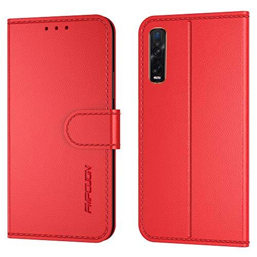FMPCUON Handyhülle Kompatibel mit Oppo Find X2 Pro(Neueste),Premium Leder Flip Schutzhülle Tasche Hülle Brieftasche Etui Hülle für Oppo Find X2 Pro(6,5 Zoll),Rot
