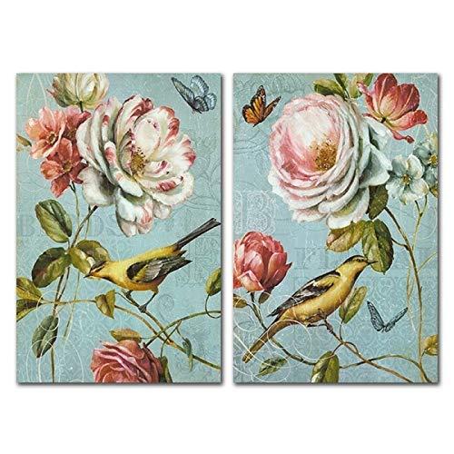 XWArtpic Nordic Frische Gartenblumen Vogel Malerei Kern Malerei Dekorative Leinwand Kunst Poster Wandbilder für Wohnzimmer Dekoration 90 * 120 cm