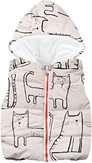 VEKDONE Baby Girls Cat Print Waistcoat Toddler Winter Cotton Vest Jacket Coat
