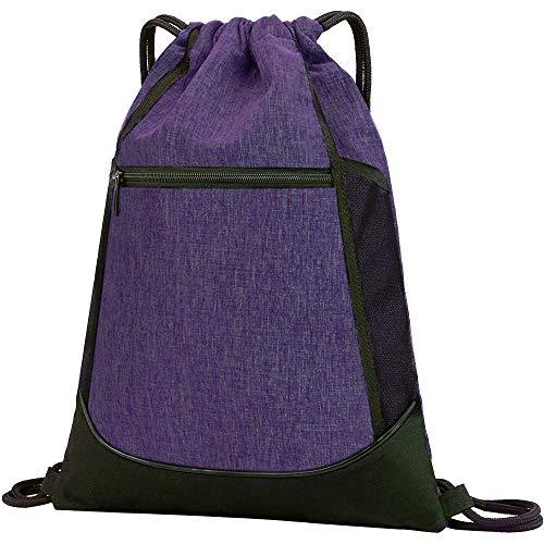 LIVACASA Mochilas de Cuerdas Hombre Mujer Grandes Bolsas de Cuerdas Gimnasio Cordones Cómodos Ajustable con Malla de Bolsillos para Botellas y Bolsillo Laterial Delantero (Purpura)