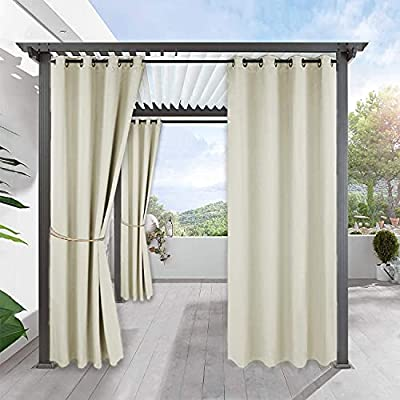 Outdoor Indoor Blackout Curtains for Patio - RYB HOME Grommet TOP Windows Treatment Blackout Curtain Panel