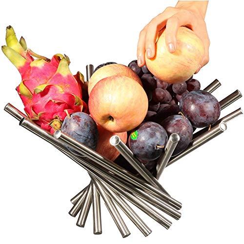 GPWDSN Frutero de acero inoxidable para encimera de cocina, soporte para frutas y verduras, organizador de almacenamiento para sala de estar, cesta de frutas de rotación, color plateado 34,5 x 12 cm