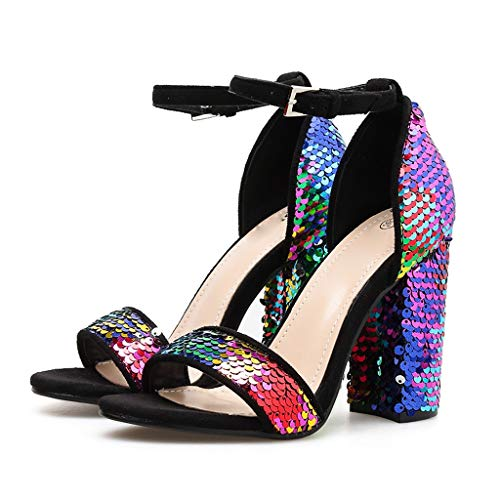 Darringls_Sandalias de Primavera Verano Mujer,Zapatos Romanos Sandalias de Damas de Mujeres Zapatos Moda Cuadrados de tacón Alto Zapatillas Pescado Boca rebaño Estampado de Serpiente