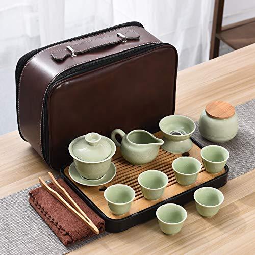 Tragbare Reise Keramik Kung Fu Tee Set Kleine Set Outdoor-Tourismus Haushalt einfache ein Topf und sechs Tassen Seitengriff Teekanne Geyaoqing (abgedeckte Schüssel) Teeservice-braune Ledertasche