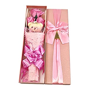 Abbie Home Flower Bouquet 3 Scented Soap Roses Gift Box with Cute Teddy Bear Birthday Mother's Day Valentine's Present