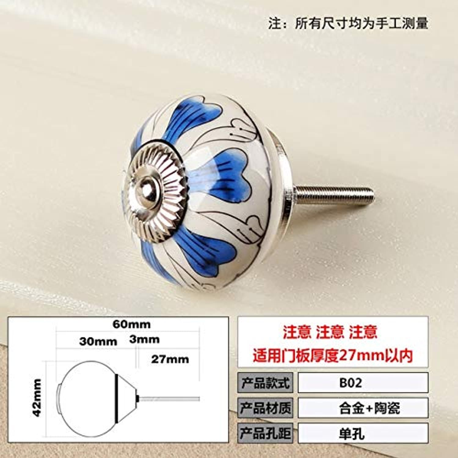 Hand Painted Ceramic Europe Classical Cabinet Drawer pulls, Handle, Antique Drawer, Wardrobe, Door Handle and knobs  (color  B02)