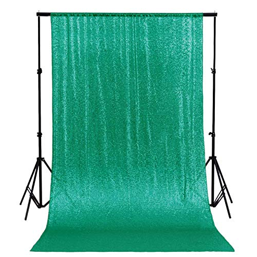 Sequin Fabric Photo Booth Backdrop Christmas Green 2FTx8FT Photography Backdrops Dark Color Green (Grass)