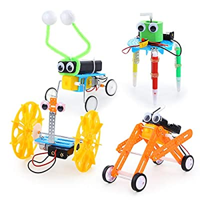 Sntieecr 4 Set Robotic Science Kits, Electric DC Motor Assembly Kits Set for Kids DIY STEM, Science Experiments, Educational Robot Kit